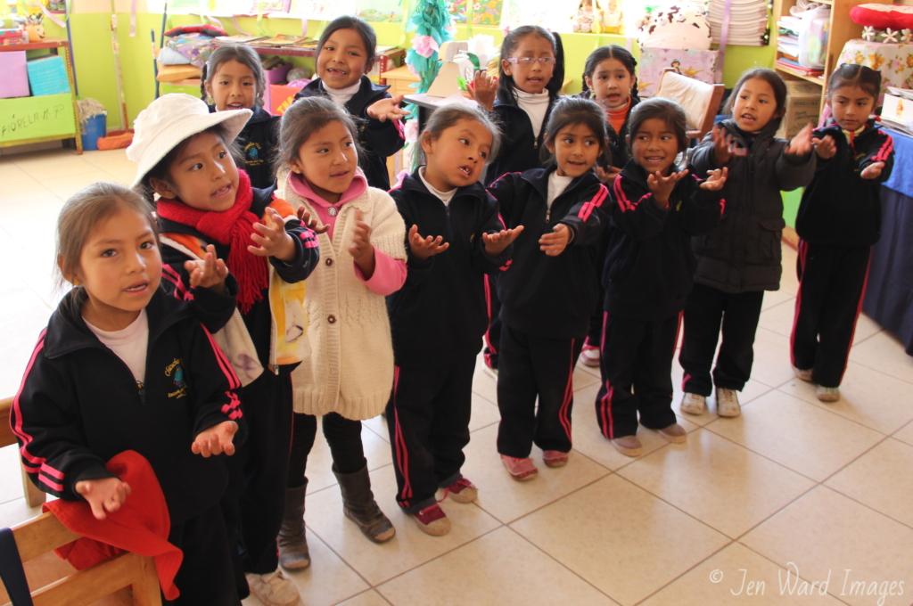 Kindergarten girls show their love & joy at school