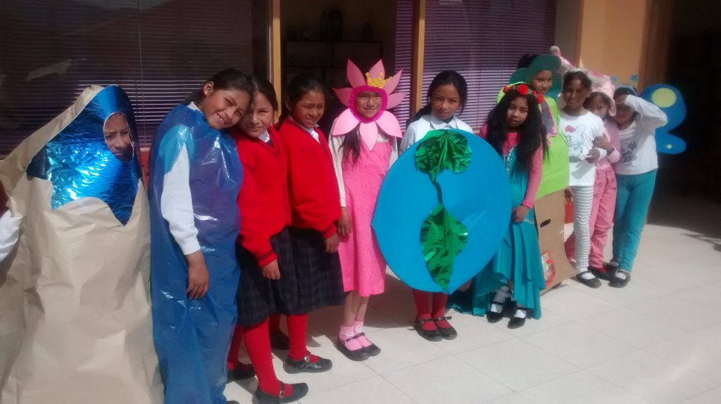 Acting out Earth day-costume material is recycled