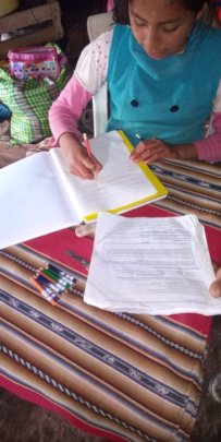 Young CW student doing lesson