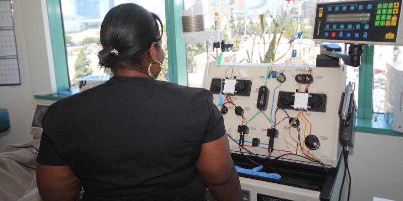Our technician overseeing the leukapheresis