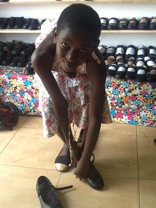 Joy trying shoes