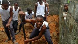 Boys acquiring farming skills