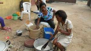 Women learning to cook, they needs modern utensils