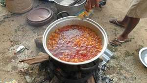 Almost completed stew, but needs modern utensils