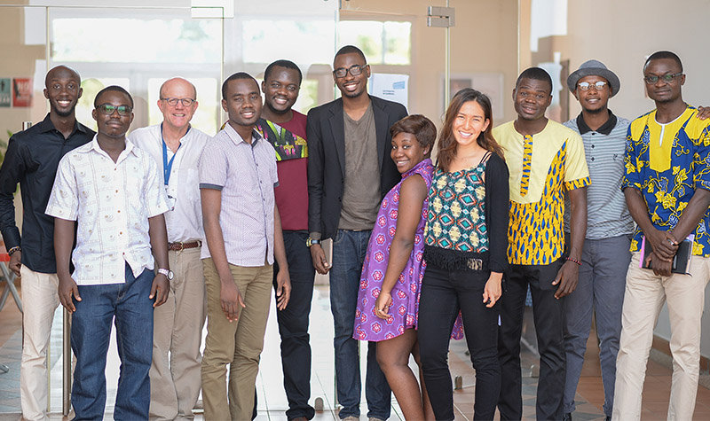 Members of the Farmerline team and Ashesi students