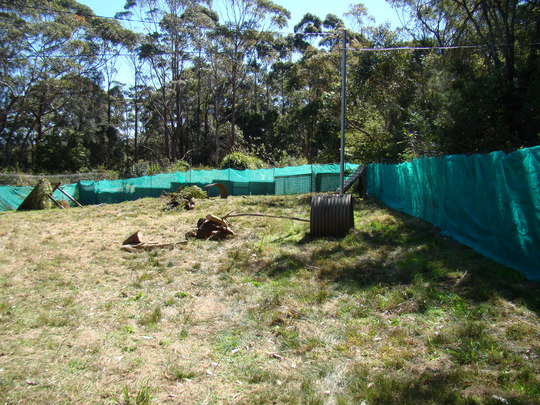 Fence, shade cloth and shelters.
