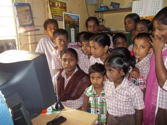 Children attending online class