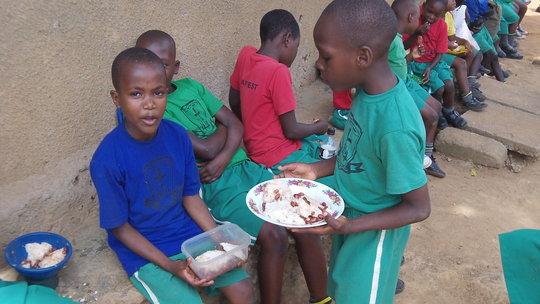 Children enjoy a meal
