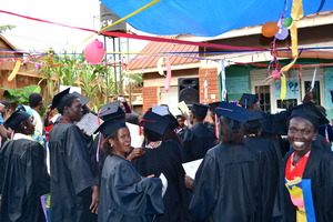 Excited graduates after the ceremony