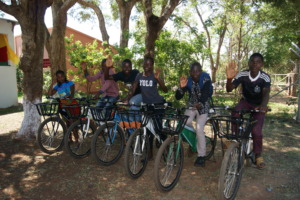 Group of students in Namaacha with their new bikes