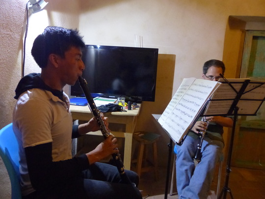 Angel in lesson with Maestro Chris Davis