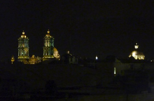 Night view, downtown Puebla, from our music studio