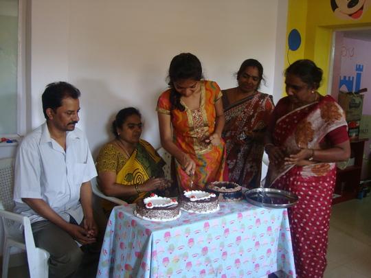 Veneetha celebrating her success with everyone