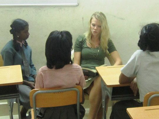 volunteer taking classes