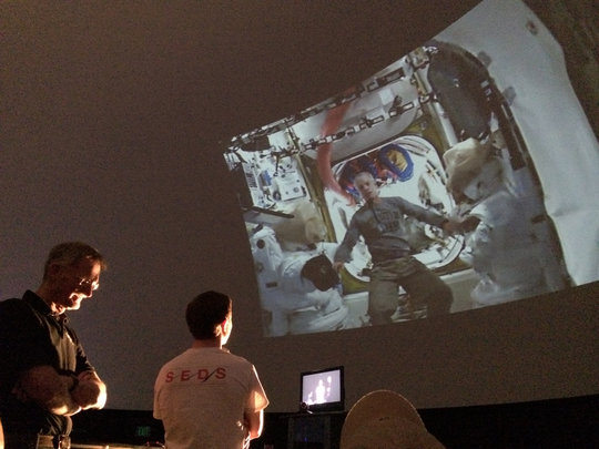 CUSEDS Student Chris Nie speaking w ISS astronauts