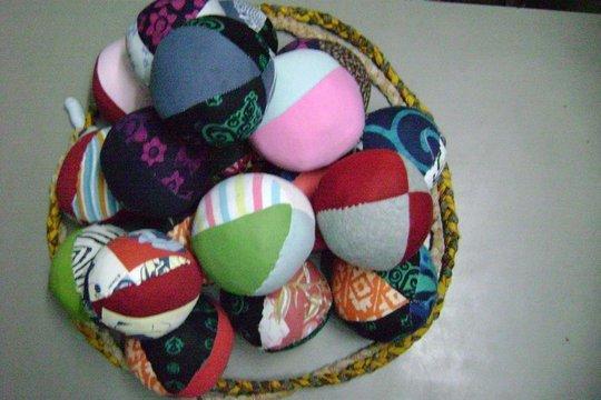Balls made of waste cloth & sponge for village sch