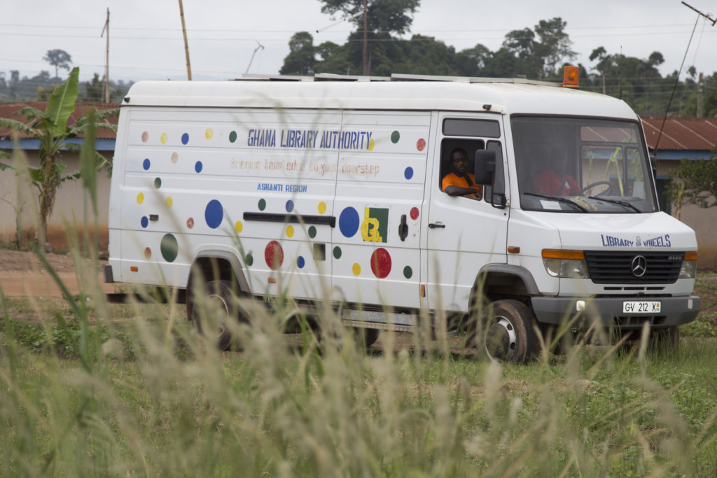 The library van on the way to a rural school.