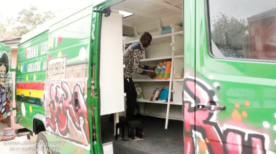 One of the 10 ICT-equipped mobile libraries.