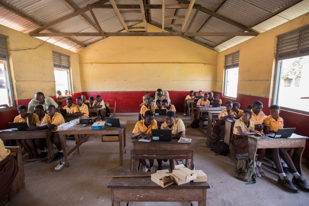 First computer class at Archbishop Amissah JHS.