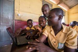 First-time learners at Archbishop Amissah JHS.