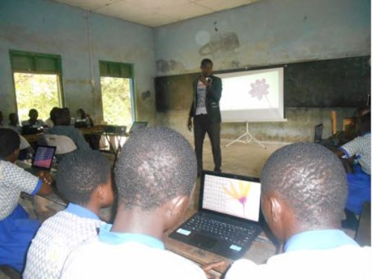 Computer class in action, Ashanti Region.