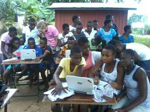 Volta Regional Library's computer class in action.