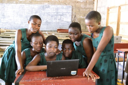 Using the computers to practise and study.