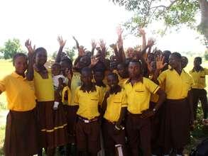 Excited pupils at Yakoti Junior High School.