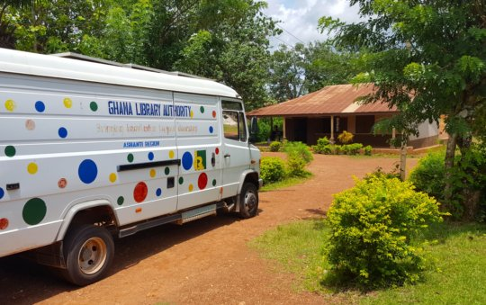 The library van outside Kwaaso Junior High School.