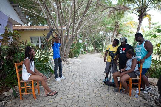 Preparing to film interviews in Haiti
