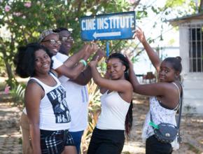 Arriving at Cine Institute in Jacmel, Haiti