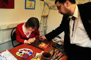 Our student Olga on drawing lesson