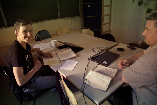 Our student Oleg with teacher on math lesson