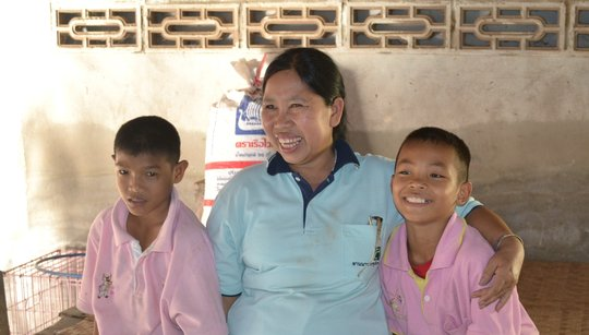 Chiang Mai foster Mum with her two foster sons