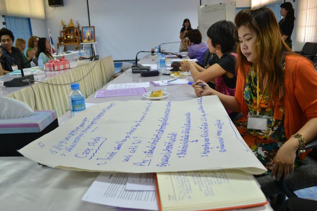 Discussing case studies during training