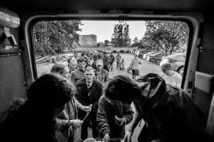 The homeless in a queue to the Night Bus