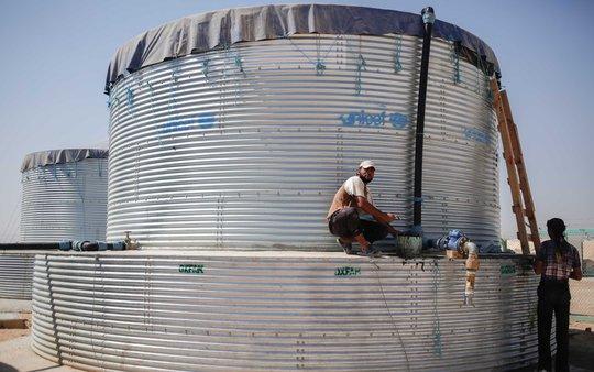 Water tank in Zaatari Camp