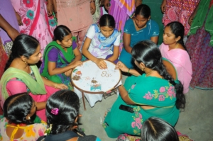Adolescents are learning Maggam work on Cloth