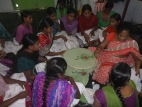 Trainees are learning Hand Embroidery skill