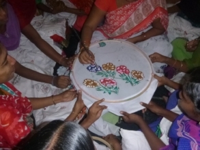 Trainees are learning Saree Painting