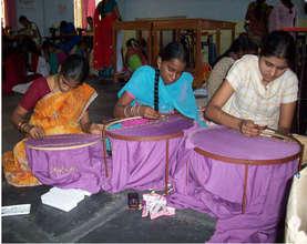 Girls practicing Maggam work