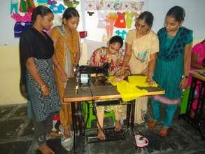Trainees in Tailoring class room