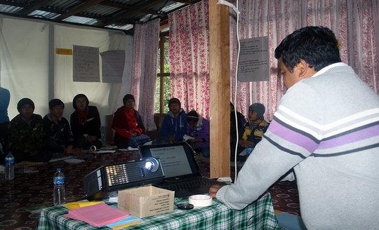 Training children on Flood Early Warning System