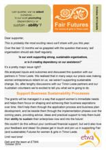 Fair Futures Update Oct 2014
