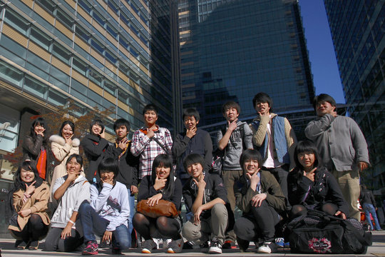 Gathering in the cityscape of Tokyo
