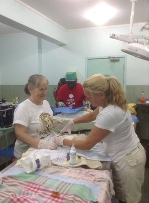 Volunteers helping with post surgery recoveries