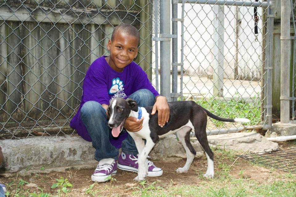 Devon playing with a puppy during kids camp