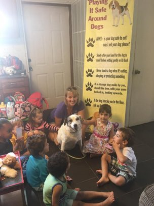 Mambo leading the lessons at Harmony Pre-School