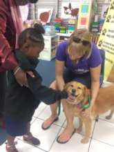 Shelley & Harriet teaching how to pet dogs safely