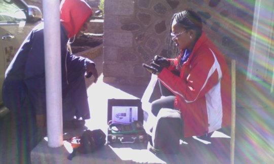 Preparing solar testing equipment at Tlhanyaku